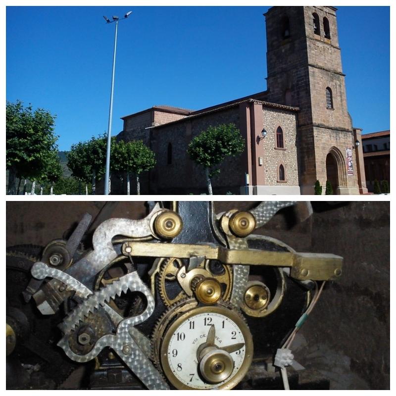 Foto del exterior de la iglesia y de la maquinaria del reloj